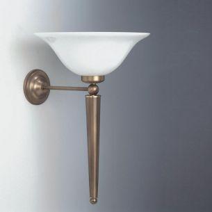 Wandleuchte  in altmessing  mit weißem Opalglas