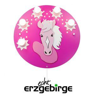 Niedliche Wand- & Deckenleuchte in Pink für kleine Pferdefans - mit LED-Schlummerlicht