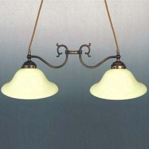 Doppelpendelleuchte 2-flammig  altmessing - nur Leuchte - verschiedene Gläser wählbar