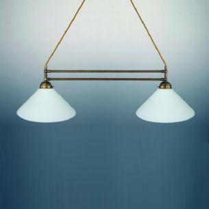 Doppelpendelleuchte, Breite 68 cm, altmessing - nur Leuchte - verschiedene Gläser wählbar