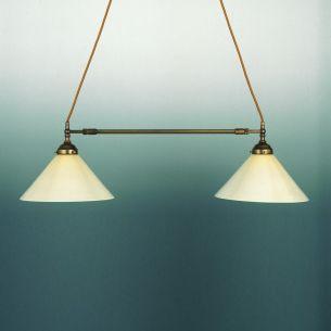 Doppelpendelleuchte in altmessing, Breite verschiebbar- nur Leuchte - Gläser wählbar