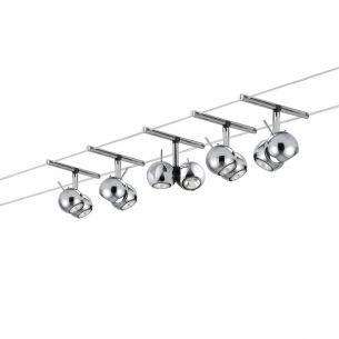 Halogen Seilsystem Komplett-Set in Chrom, 2x 5m, inklusive 5 schwenkbarer 2x 20W Kugel- Spots
