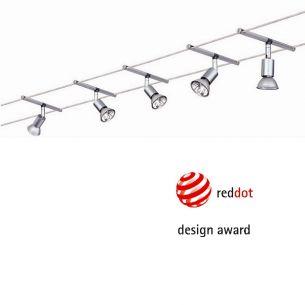 Seilsystem Komplett-Set in Chrom matt,  2x5m, inklusive 5 schwenkbarer 20W  Halogen-Spots