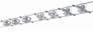 Seilsystem Komplett-Set, in Chrom-matt, 2x 5m  inklusive 7 schwenkbarer 20W Halogen-Spots