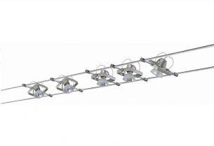 Seilsystem Komplett-Set in Nickel matt , 2x 5m, inklusive  5 schwenkbarer  20W  Halogen-Spots
