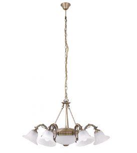 Pendelleuchte Orchidea 6 flammig mit Unterlicht und weißem Alabasterglas