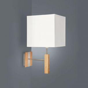 Kantige Wandleuchte aus Kombination helles Holz - Metall - Stoff
