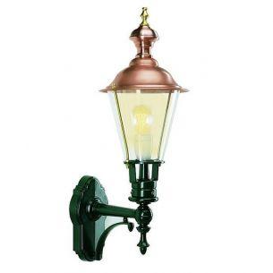 Klassische Laterne mit Wandarm und nostalgischem Kupferdach - dunkelgrün lackiert