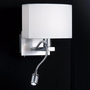 Zweiflammige Wandleuchte, ovaler Schirm, biegsamer LED-Leuchtarm