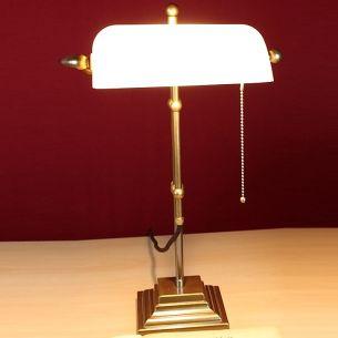 Bankerleuchte - Bankerlamp- mit Dreischicht-Glas - Fuß eckig - Glas Weiß
