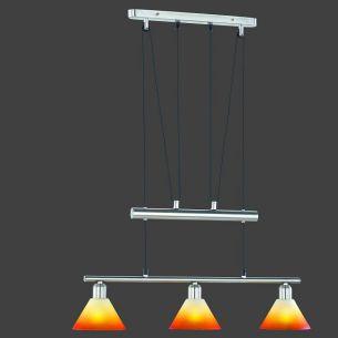 Zugpendelleuchte mit Gläsern im orangem Farbverlauf, 3 flammig