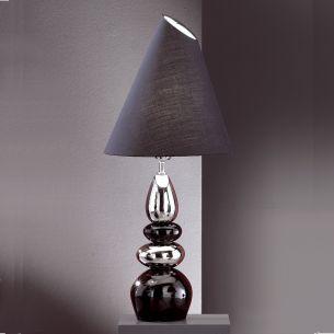 Leuchte mit Keramik schwarz / silber, Schirm schwarz verstellbar
