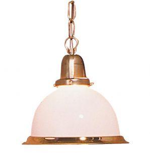Pendelleuchte im Landhausstil, cremeweißes Glas mit Goldrand, Durchmesser 19,5cm