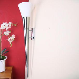 Wandfackel in Nickel matt für stimmungsvolles Licht, Höhe 80cm