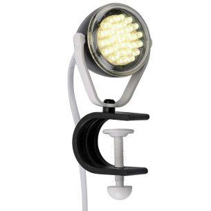 LED-Klemmleuchte aus Kunststoff in schwarz-weiß, 30 LEDs, 4000K