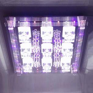 9-flammige Halogen Deckenlampe kombiniert mit LEDs, mit Fernbedienung,