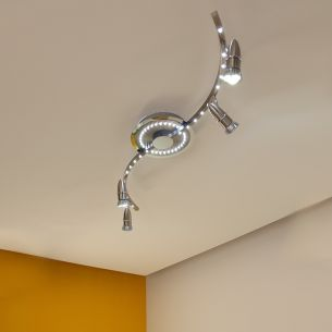 LED-Deckenstrahler, 4 x GU10 3x1W, 50 LEDs, integrierter Serienschalter