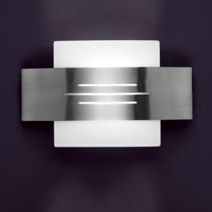Wandleuchte mit Schalter im modernen Design - mit weißem Opalglas und Nickel-Blende
