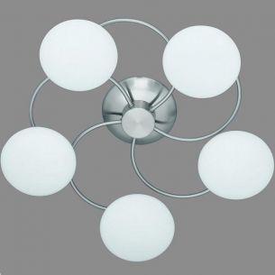 Deckenleuchte in Nickel-matt, 5 flammig weiß/stahlfarbig, Nickel-matt