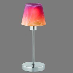 Tischleuchte mit Touchdimmer in Nickel matt, Alabaster-Glas mit Farbverlauf