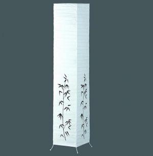 Papier Stehleuchte in weiß mit Bambus-Dekor - Fußschalter