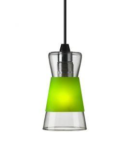Pendelleuchte Pure aus Glas, inklusive drei farbiger Blenden in Weiß, Gelb, Grün