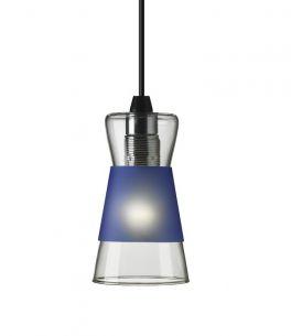 Pendelleuchte Pure aus Glas, inklusive drei farbiger Blenden in Schwarz, Blau, Rot