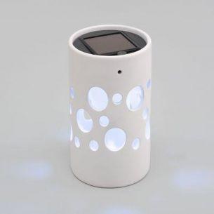 LED-Solarleuchte Keramik in weiß, 1 weiße LED, Zylinder 14,00 cm, 9,50 cm