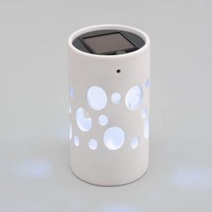 LED Deko-Solarleuchte aus Keramik weiß, 1 weiße LED - Zylinder 14,00 cm, 9,50 cm