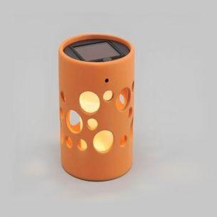 LED Deko-Solarleuchte aus Keramik tonfarben, 1 gelbe LED - Zylinder 14,00 cm, 9,50 cm