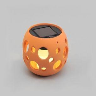 LED Deko-Solarleuchte aus Keramik tonfarben, 1 gelbe LED - Kugel 10,00 cm, 12,00 cm