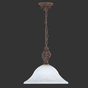 Landhaus Pendelleuchte 1-flammig, rostfarbig mit Ornamentglas Ø41cm