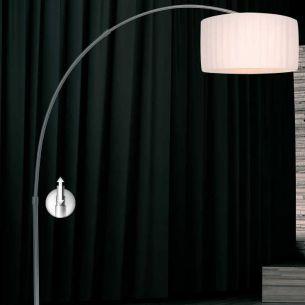 David Pompa Design-Bogenleuchte mit Schirm aus weißem Kunststoff-Plissee, Fuß aus Marmor