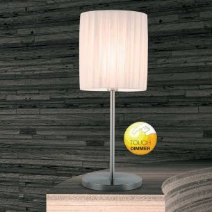 David Pompa Design-Tischleuchte mit Touchdimmer, Schirm aus weißem Kunststoff-Plissee
