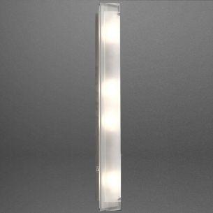 Deckenleuchte, 70x12cm,  satiniertes Glas mit verspiegeltem Rand