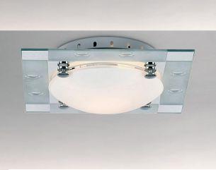 Deckenleuchte, 22x22cm, satiniertes Glas in Kombination mit Chrom und Spiegelglas