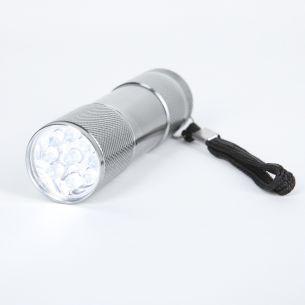 LED Taschenlampe aus Metall in silber 8,8cm 9x LED 0,07W weiße Lichtfarbe