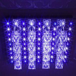 LED-Halogen Deckenleuchte mit Fernbedienung,45x45 cm, in Chrom, Kristallglas
