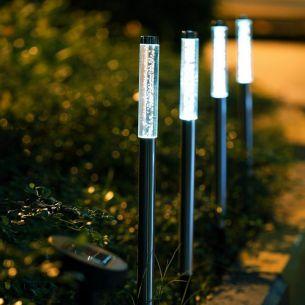 LED Solar-Erdspießleuchten aus Edelstahl, Blubberbläschen-Optik