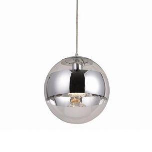Pendelleuchte Glas und Chrom in futuristischer Kombination Hängelampe in 30cm Ø, inklusive  E27 60Watt Leuchtmittel