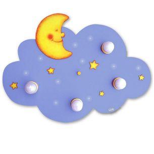 Kinderdeckenlampe mit Mond und Sternen in Wolkenform mit  LED Schlummerlicht