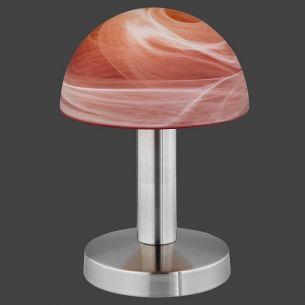 Moderne Tischleuchte TOUCH ME - Nickel, Glas Farbverlauf orange