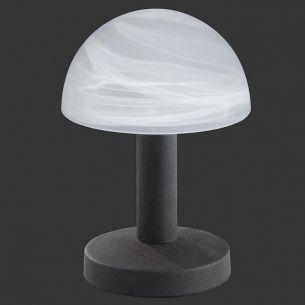 Moderne Tischleuchte TOUCH ME - rostfarbig, Glas weiß