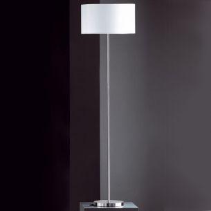 Stehleuchte in Nickel-matt mit Stoffschirm weiß, Höhe 151 cm