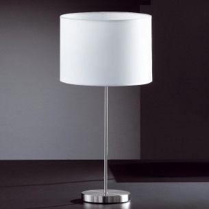 Tischleuchte in Nickel-matt mit Schirm weiß, Höhe 57 cm