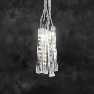 LED Leuchtstäbe Lichtervorhang für Außen, 96 warm weiße LEDs, Länge 8 Meter
