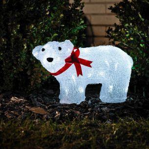 LED Eisbär aus Acryl für Außen, stehend mit roter Schleife, 40 kalt weiße Dioden