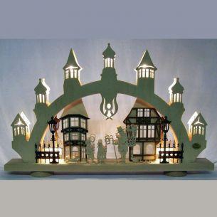 Weihnachtsbeleuchtung - Hochwertiges aus dem Erzgebirge - Schwibbogen Motiv Altstadt