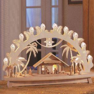 Weihnachtsbeleuchtung - Hochwertiges aus dem Erzgebirge - Schwibbogen Motiv Christi Geburt