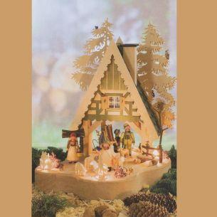 Weihnachtsbeleuchtung - Hochwertiges aus dem Erzgebirge - Holz-Lichterhaus Motiv Waldhaus